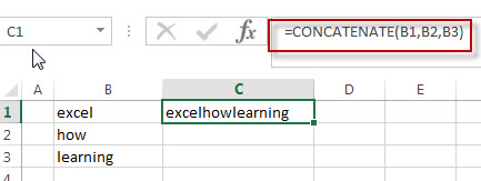 Combine text using CONCATENATE function1