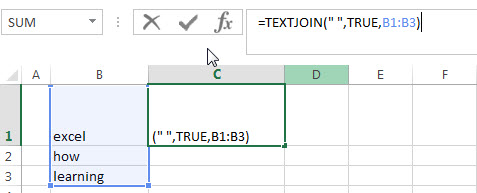 Combine text using TEXTJOIN function1