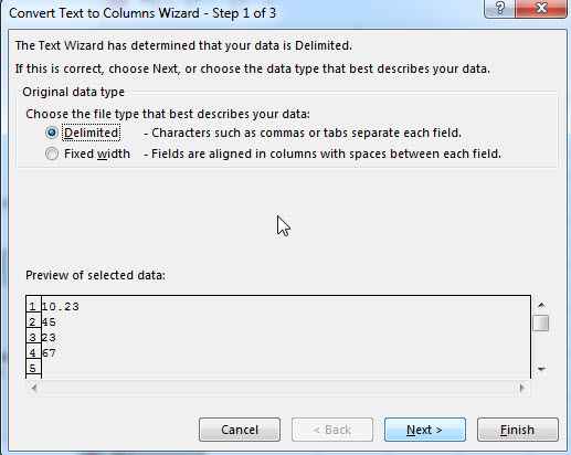 Convert Number to Text Using Text to Columns wizard1