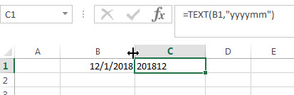 Convert date to month and year with Text Function 1