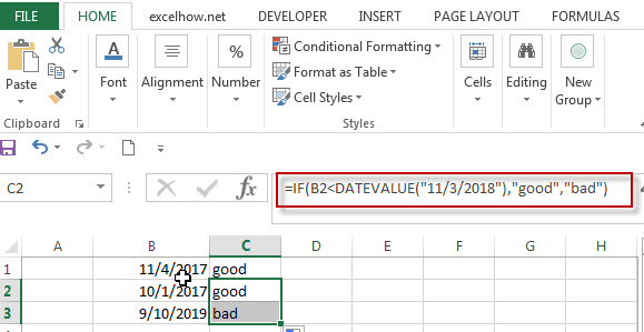 Excel IF Function With Dates1