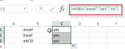 Excel IF function check if a cell contains text1