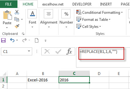 Excel Replace Function Remove Text String1