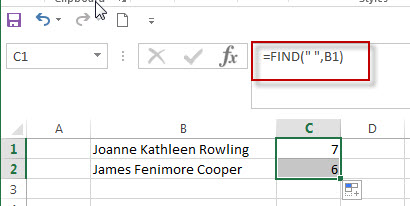 Get First Name from Full Name in Excel1