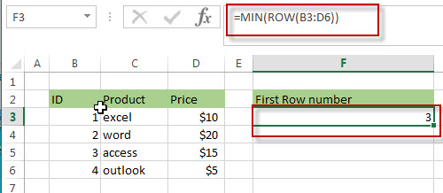 Get First Row Number using the ROW Function Only 2