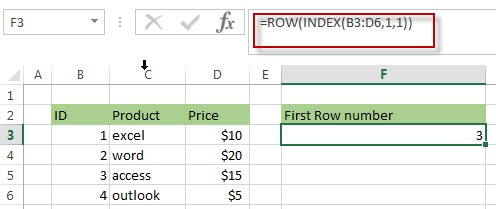 Get First Row Number using the ROW Function Only 3