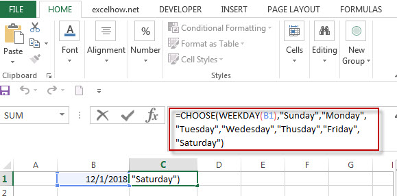 Get a day name of the week using WEEKDAY and CHOOSE function1