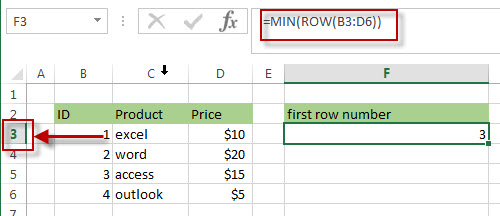 Get the Last Row Number using MIN, ROW and ROWS Functions1