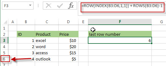 Get the Last Row Number using ROW, INDEX and ROWS Functions1
