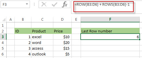 Get the Last Row Number using ROW and ROWS Functions1