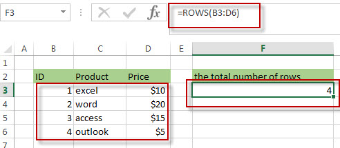 Get the Last Row Number using ROW and ROWS Functions2