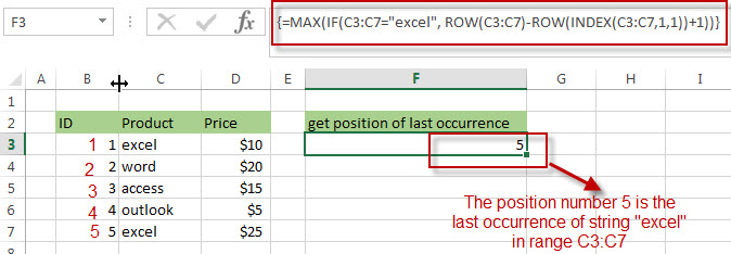 Get the position (index) of Last Occurrence of a value3