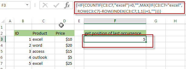 Get the position (index) of Last Occurrence of a value4