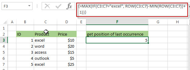 Get the position (index) of Last Occurrence of a value5
