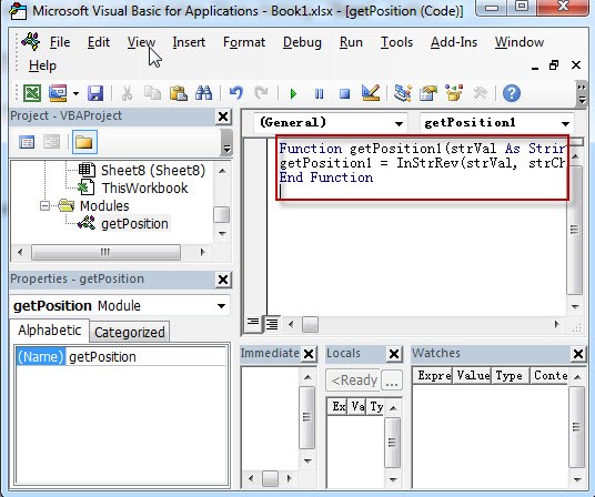 Get the position using Excel vba2