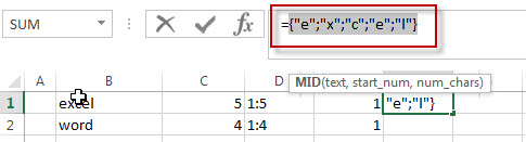How to split text string into an Array with excel formula3