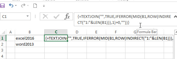 Remove non numeric characters with an Excel Formula1