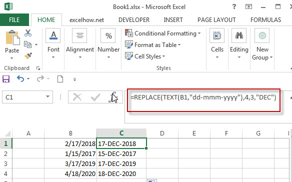 Replace function combine with Text function in Excel1