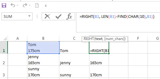 Split Text String by Line Break in Excel2