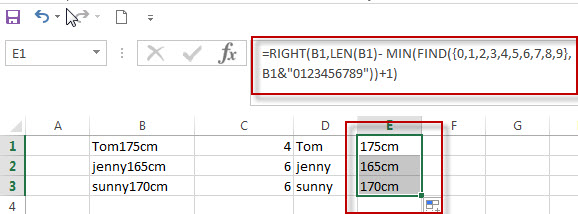 Split Text and Numbers in Excel3