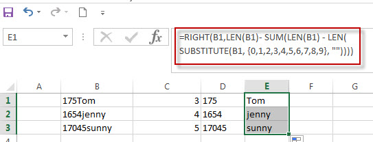 Split Text and Numbers in Excel4
