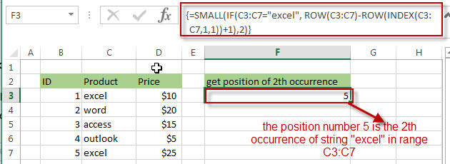 Get the position (index) of nth Occurrence of a value 2