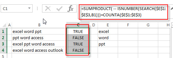 check cell contains all values3