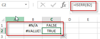 excel iserr function example