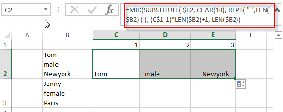 split multiple line from a cell2