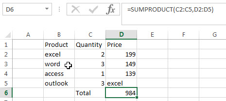 sumproduct function example3