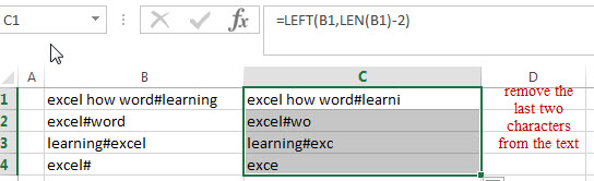 How to remove first and last characters from text string in Excel - Free  Excel Tutorial