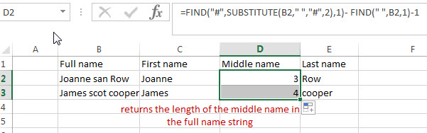split full name to get middle name 1
