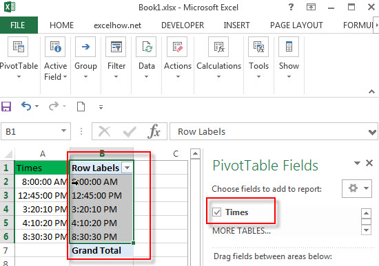 group hour with pivottable7