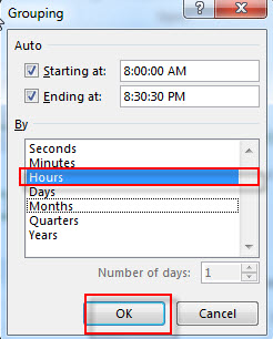 group hour with pivottable9