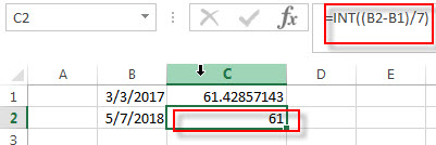 calculate days weeks months between two dates2
