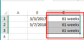 calculate days weeks months between two dates5