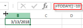 excel TODAY examples2