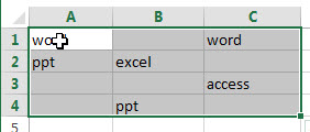 fill blank cells with specific value1