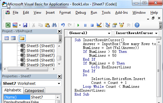 insert multiple rows or columns10