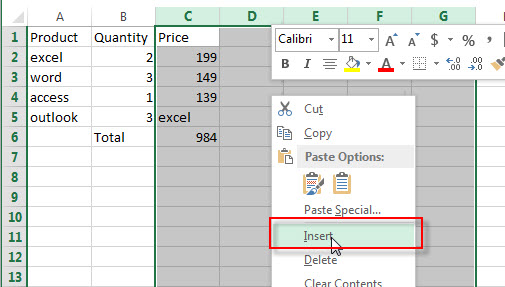 insert multiple rows or columns5