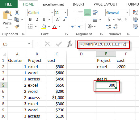 excel dmin function example1