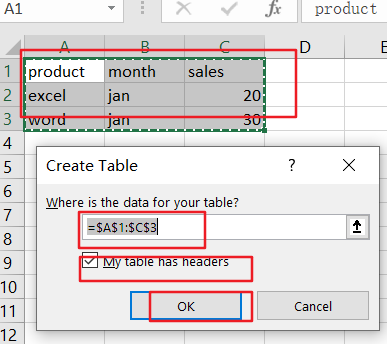 convert data to table3