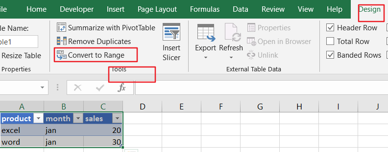 convert data to table5