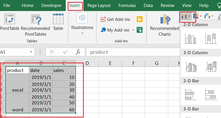 create chart with two level axis10