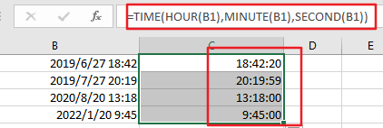 extract time from date and time1