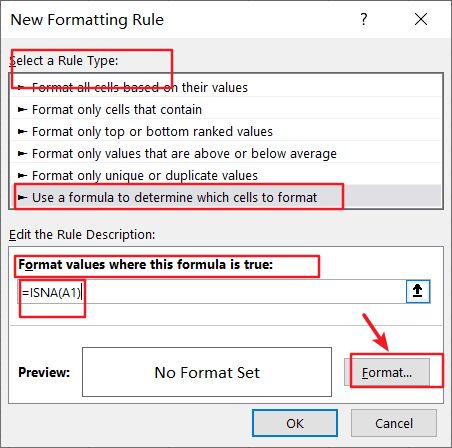 format cells contain na3