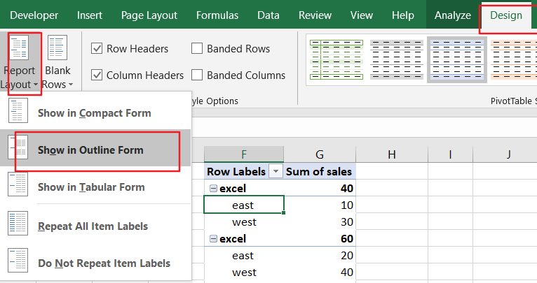 repeat row lables in pivot table2