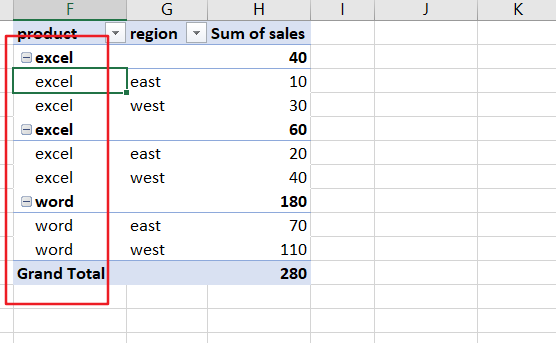 repeat row lables in pivot table5