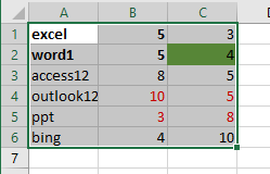 copy only values and format 1