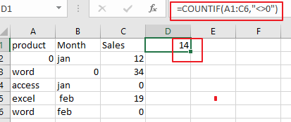 count number of cell with non-zero1